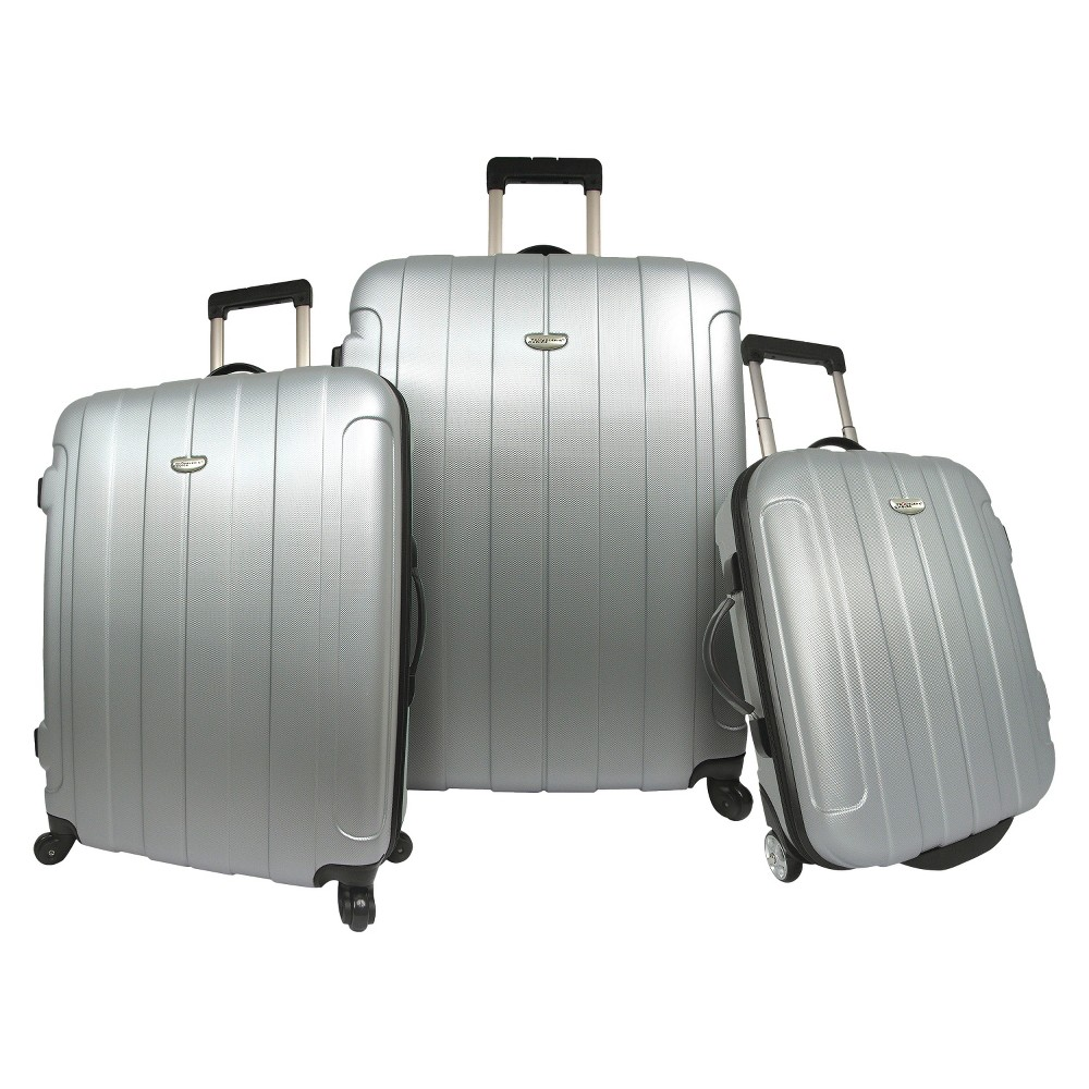 Traveler S Choice Rome 3pc Hardside Spinner Rolling Luggage Set Silver