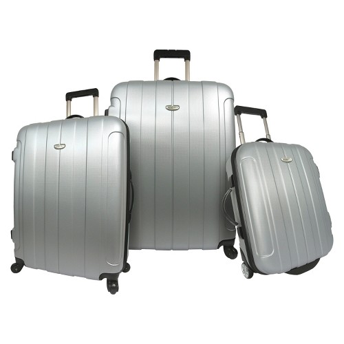 Traveler's Choice Rome 3pc Hardside Spinner/Rolling Luggage Set - Silver, Size: Small