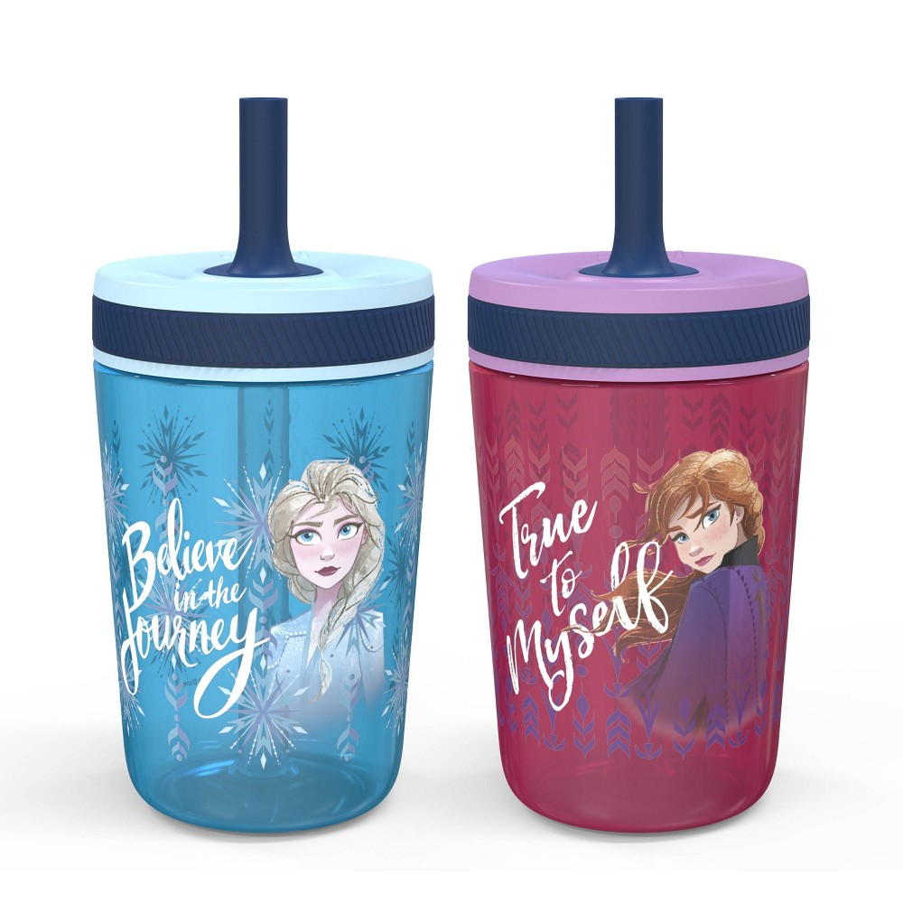 Image of Frozen 2 Anna and Elsa 15oz 2pk Plastic Tumblers with Straws - Zak Designs