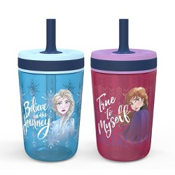 Frozen 2 Anna and Elsa 15oz 2pk Plastic Tumblers with Straws - Zak Designs