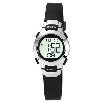 Armitron Sport Women's Digital Chronograph Resin Strap Watch - Black
