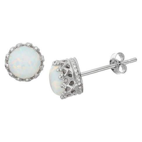 6mm Round-cut Opal Crown Earrings in Sterling Silver - image 1 of 1