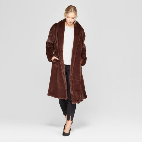 Women's Faux Mink Robe Coat - Who What Wear™ Brown - image 1 of 3