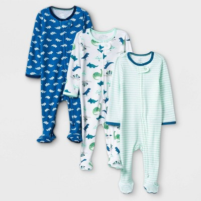 Baby Boys' 3pk Dino Zip-Up Sleep N' Play - Cloud Island™ Blue/Mint/White 3-6M