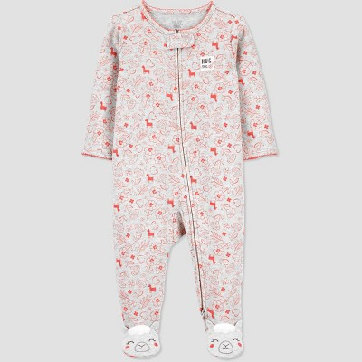 Baby Girls' Floral Interlock One Piece Pajama - Just One You® made by carter's Pink 3M