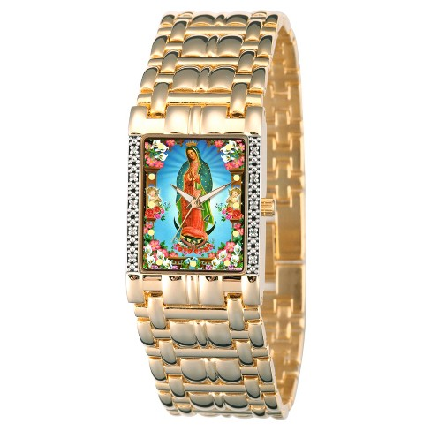 Men's eWatchfactory Our Lady of Guadalupe Square Diamond Bracelet Watch - Gold - image 1 of 2