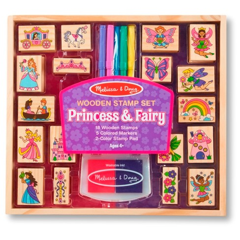 Melissa & Doug® Princess & Fairy Wooden Stamp Set with 2 Color Stamp Pad and 5 Markers - image 1 of 1