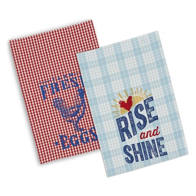 Set of 2 Red/Blue Printed Rooster Plaid Kitchen Towel - Design Imports