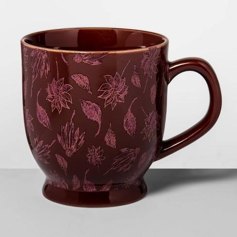 16oz Stoneware Batik Leaf Print Footed Mug Red - Opalhouse™ - image 1 of 1