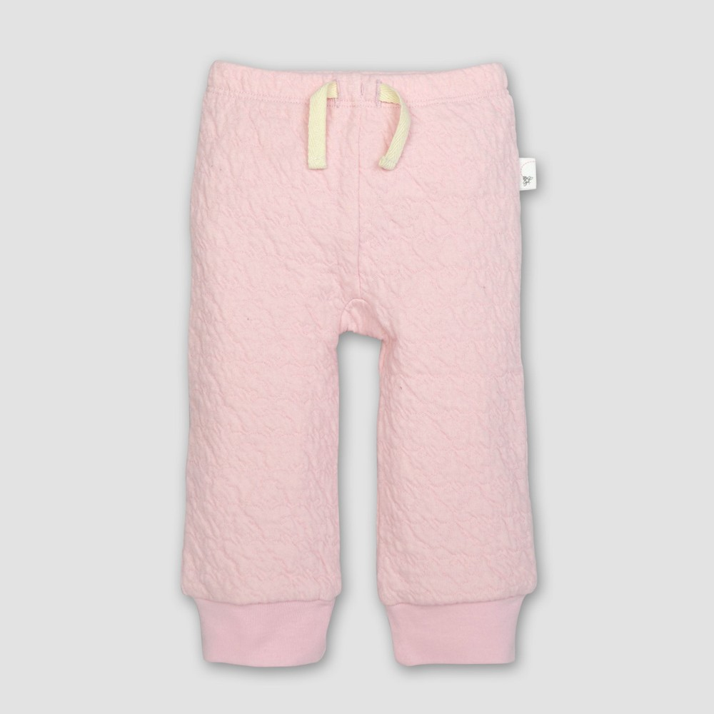 Burt's Bees Baby Girls' Organic Cotton Quilted Bee Pants - Blossom 6-9M, Pink