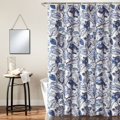Cynthia Jacobean Shower Curtain Blue - Lush Décor