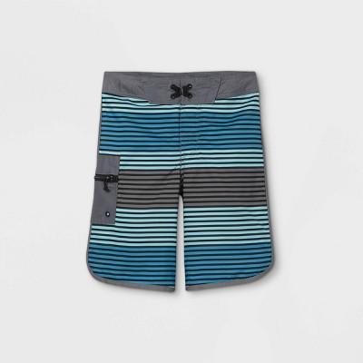 Boys' Horizontal Stripe Swim Trunks - art class™ Blue/Gray