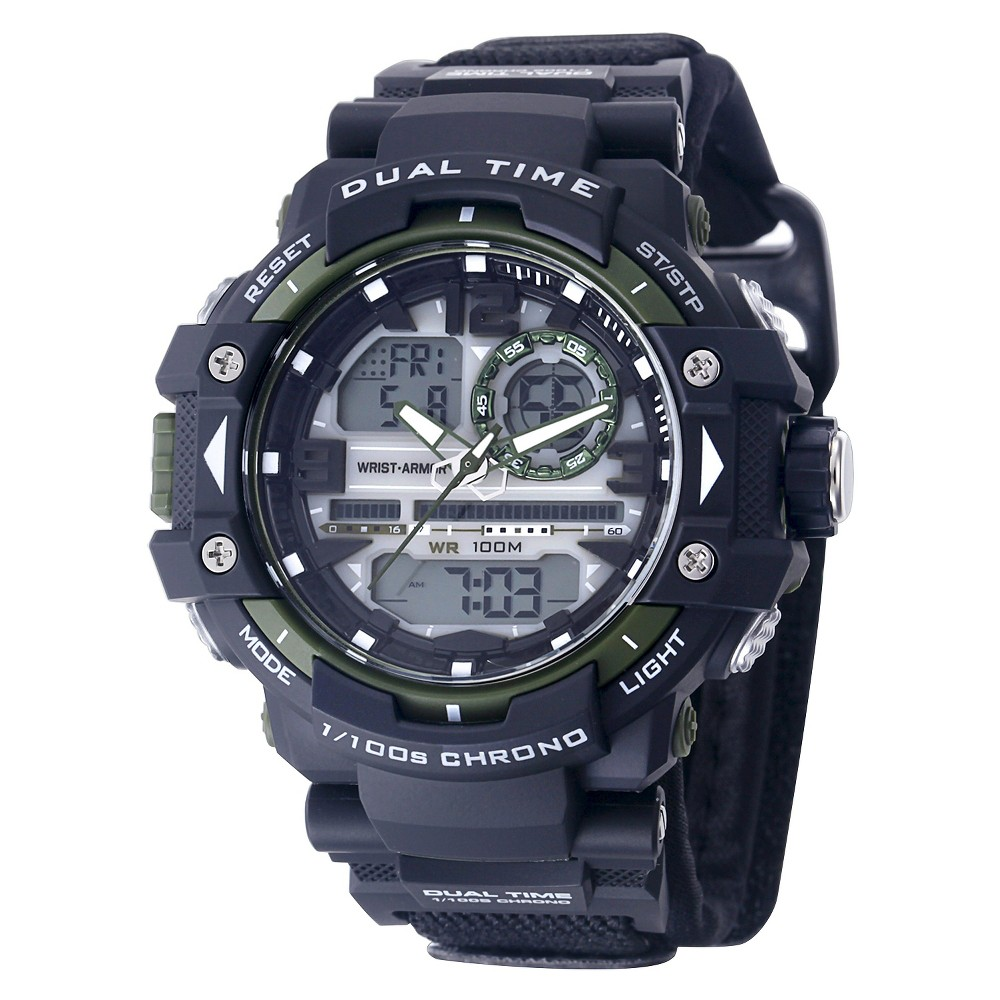 Men's Wrist Armor C41 Multifunction Watch-Black And Green Dial-Black Nylon Strap, Black
