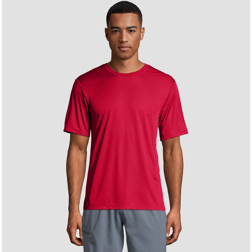 Image of petiteHanes Men's Short Sleeve CoolDRI Performance T-Shirt -Deep Red L, Size: Large