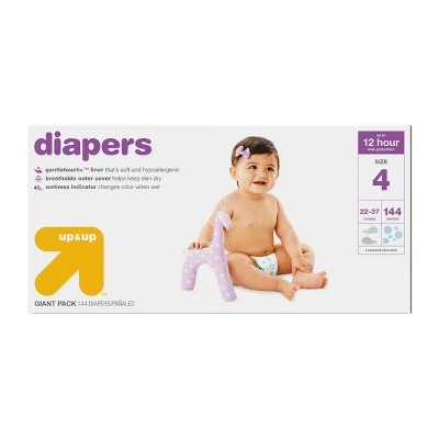 Diapers Giant Pack Size 4 - 144ct - Up&Up™