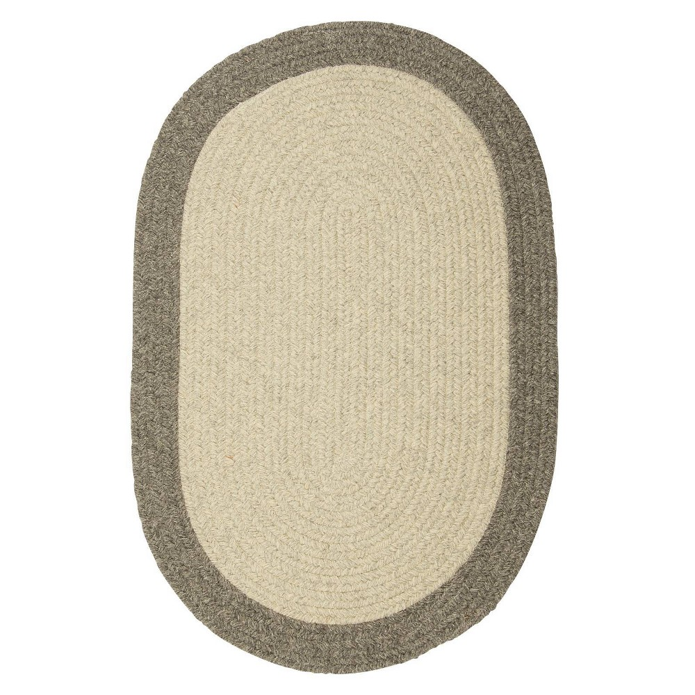 Image of 10' Round Malibu Border Braided Area Rug Light Gray - Colonial Mills, Size: 10' Round