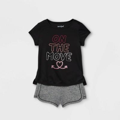 Toddler Girls' 'On The Move' Short Sleeve Active Top & Shorts Set - Cat & Jack™ Black