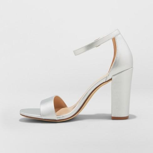 160c347f9ad7 Women s Ema Wide Width High Block Heel Pumps - A New Day™ Silver 6.5W    Target