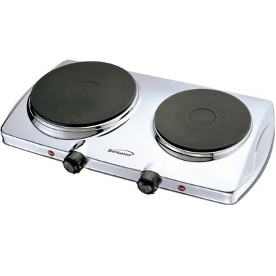 Brentwood Electric 1440W Double Hotplate Chromed