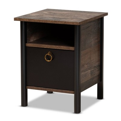 Vaughan Two-Tone Rustic Finished Wood Nightstand Walnut - Baxton Studio