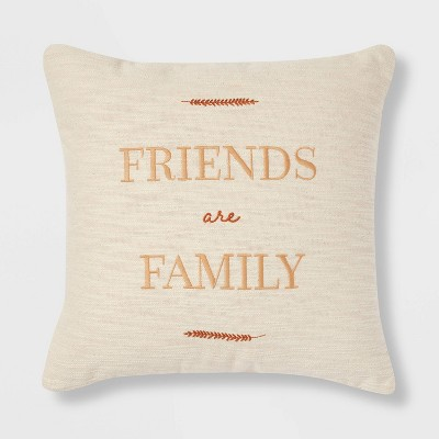 'Friends are Family' Square Throw Pillow Cream/Gold - Threshold™