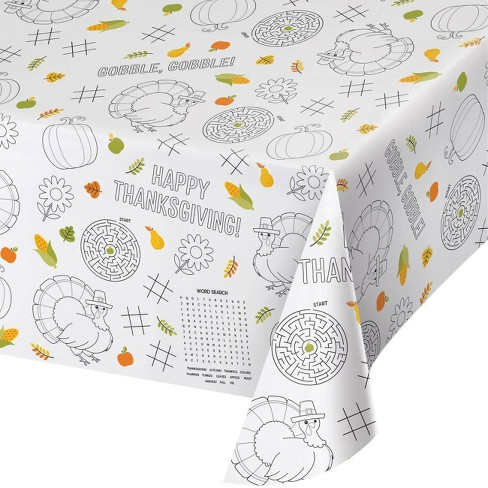 3ct Thanksgiving Paper Activity Tablecloth - image 1 of 1