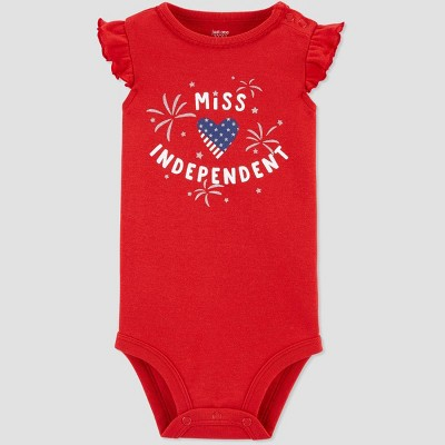 Baby Girls' 4th of July Miss Independent Bodysuit - Just One You® made by carter's Red 12M