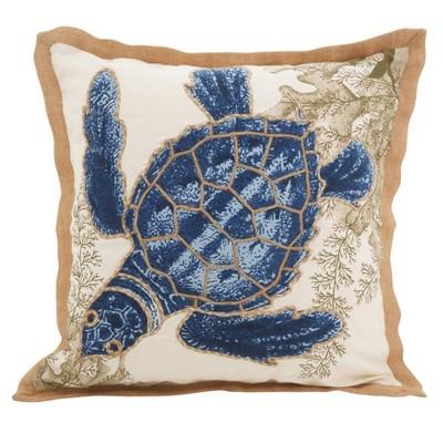 """20""""x20"""" I See Sea Turtles Down Filled Throw Pillow Blue - Saro Lifestyle"""