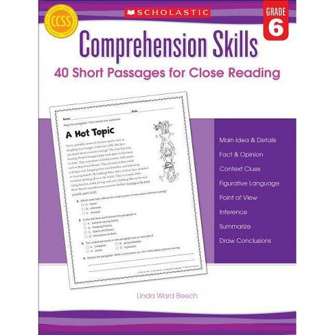 Comprehension Skills: 40 Short Passages for Close Readings, Grade 6 - by  Linda Beech (Paperback) - image 1 of 1
