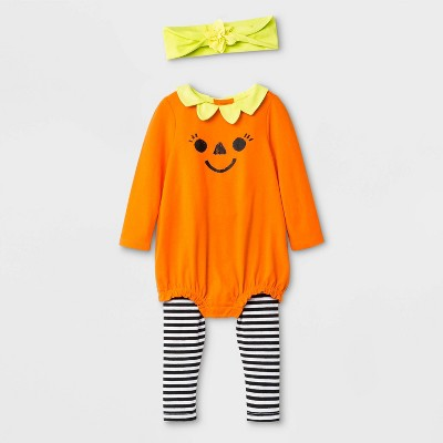 Baby Girls' Halloween 3pc Pumpkin Top and Bottom Set - Cat & Jack™ Orange/Black 0-3M