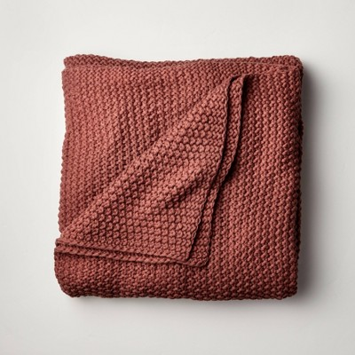 Full/Queen Chunky Knit Bed Blanket Clay - Casaluna™