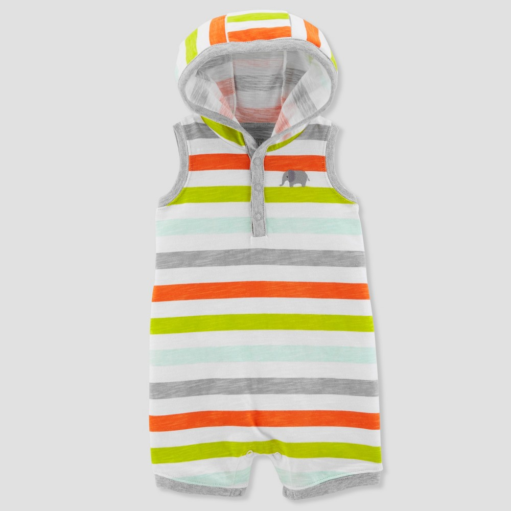 Image of Baby Boys' 1pc Hooded Stripe Romper - Just One You made by carter's Green 3M, Boy's, Size: Small