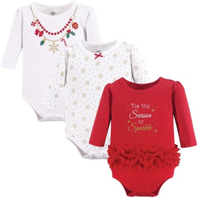 Little Treasure Baby Girl Cotton Long-Sleeve Bodysuits 3pk, Christmas Necklace