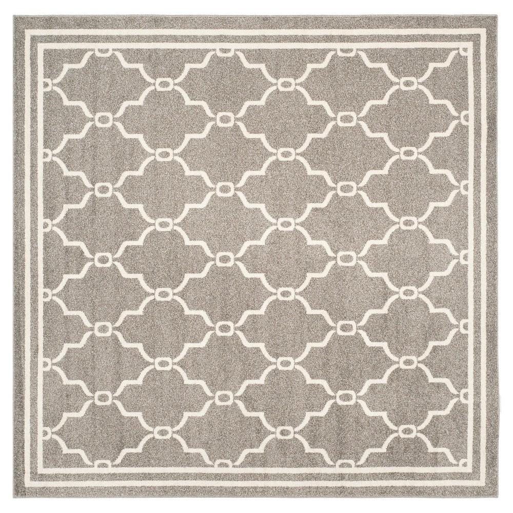Prato Square 7'X7' Indoor/Outdoor Rug - Dark Gray/Beige - Safavieh