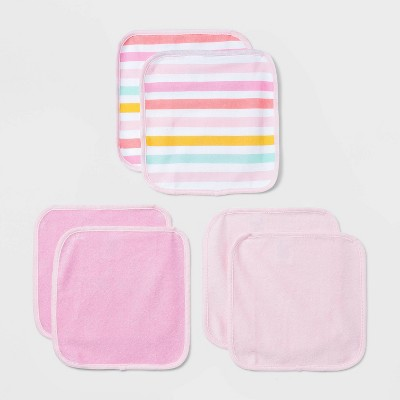 Baby Girls' 6pk Unicorn Striped Washcloth Set - Cloud Island™ Pink