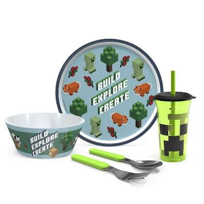 Zak Designs Kids 5-Piece Dinnerware Set Plate Bowl Water Bottle Utensil Tableware Durable Material Perfect for Kids 5 pcs Set