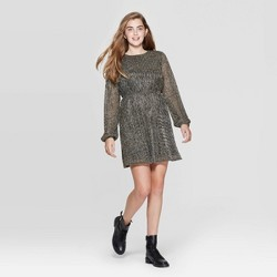 Women's Long Sleeve Round Neck Open Back Shine Mini Dress - Xhilaration™ Gold