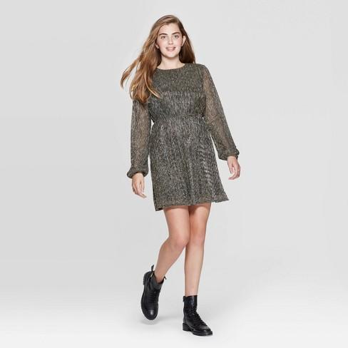 Women's Long Sleeve Round Neck Open Back Shine Mini Dress - Xhilaration™ Gold - image 1 of 2