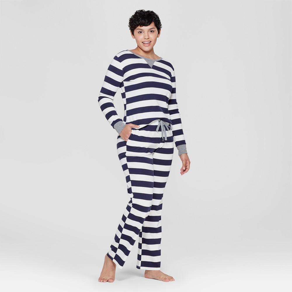 Women's Striped Pajama Set - Navy S, Blue