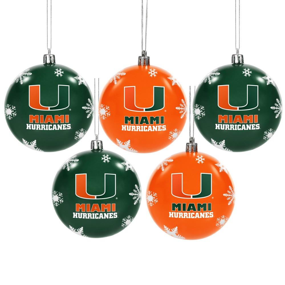 NCAA 5pk Shatterproof Ball Ornaments Miami Hurricanes