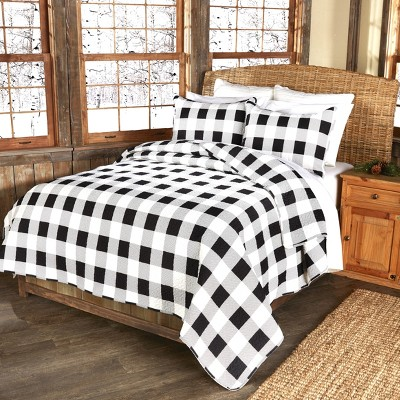 Lakeside Black and White Checker Bed Quilt Set with Pillow Shams