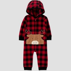 Baby Boys' Moose Fleece Hooded Romper - Just One You® made by carter's Red