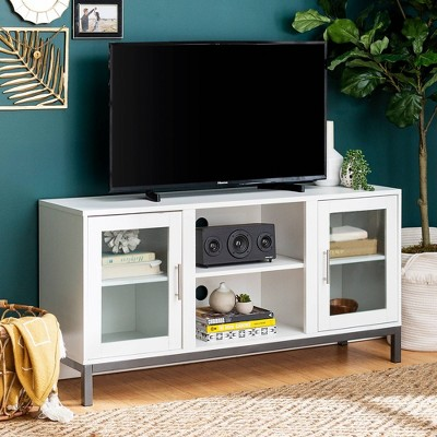 "Modern Silver Leg 6 Cord Port TV Stand for TVs up to 58"" - Saracina Home"