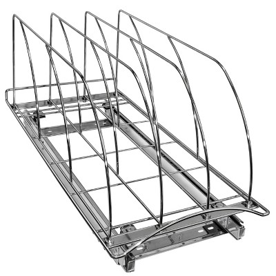 """Lynk Professional Slide Out Cutting Board, Bakeware, and Tray Organizer - Pull Out Kitchen Cabinet Rack - 10"""" wide x 21"""" deep - Chrome"""