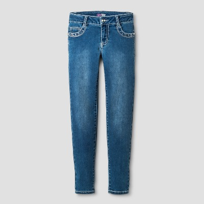 30ce3e4c2 Girls First™ Girls' Knit Skinny Jeans with Rhinestone Details Medium Denim  ...