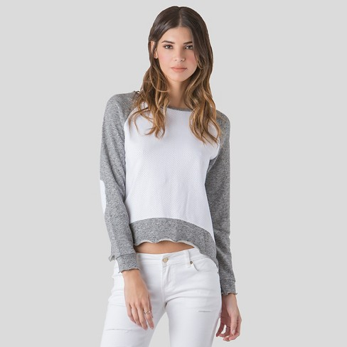 s&p by standards & practices® Women's Long Sleeve Mesh Top - Gray - image 1 of 4