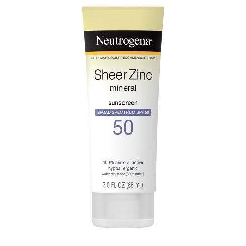 Neutrogena Sheer Zinc Mineral Sunscreen Lotion - SPF 50 - 3 fl oz - image 1 of 4