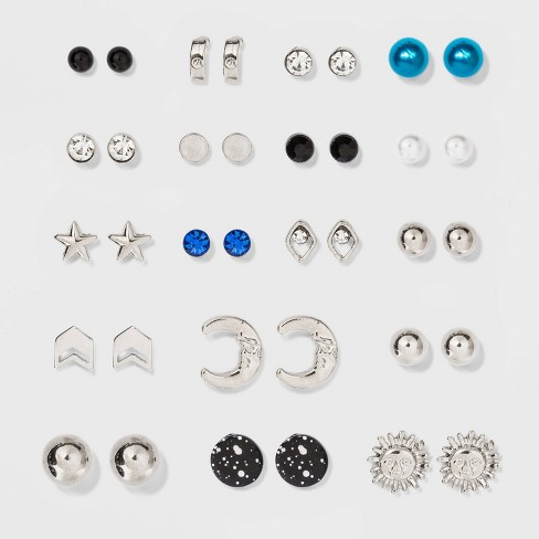Moon and Star Multi Earring Set 18ct - Wild Fable™ Rhodium - image 1 of 2