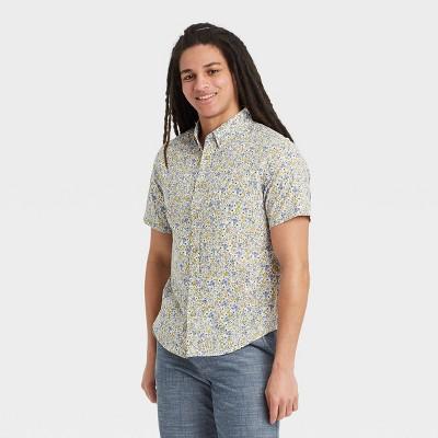 Men's Floral Print Regular Fit Short Sleeve Button-Down Shirt -  Goodfellow & Co™ Blue