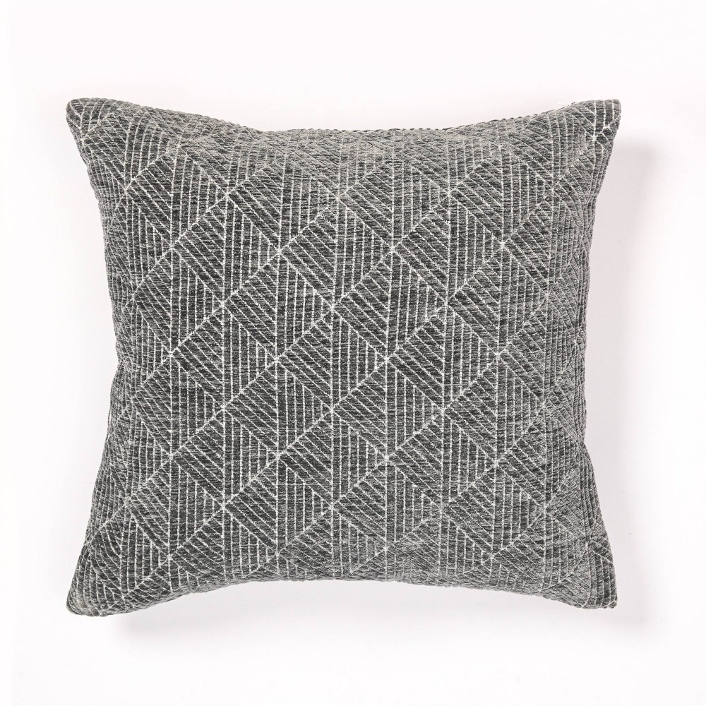 "Image of ""18""""x18"""" Geometric Chenille Woven Jacquard Throw Pillow Charcoal Gray - Freshmint"""